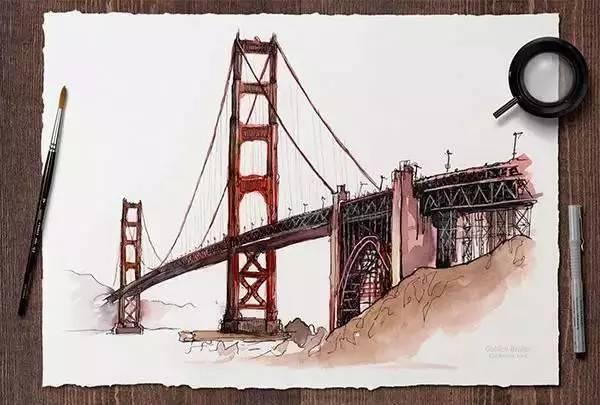 手绘桥梁效果图