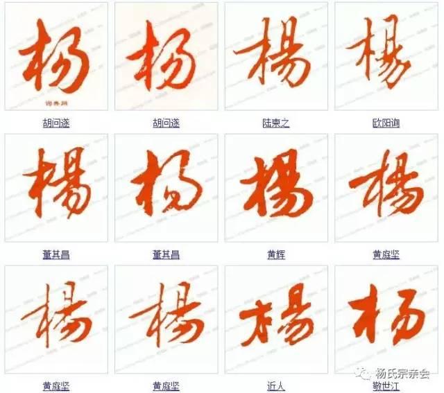 字的书法写法 杨字各种书法 杨氏宗亲有福了
