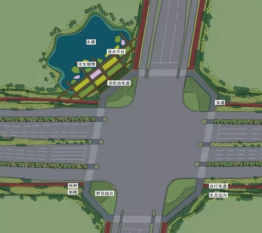 生境良好处设置休憩空间,非机动车道通过木栈道与亲水平台相连接,延伸