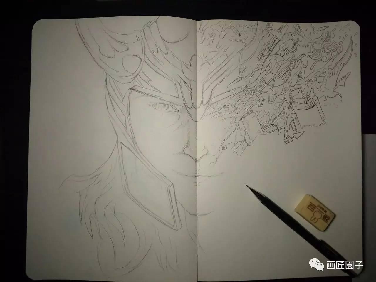 """过程 针管笔手绘黑白插画""""洛基"""""""