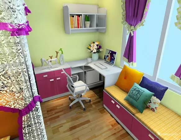 飘窗处,转角书桌和矮柜结合在一起,打造小姑娘的学习,休闲的空间.