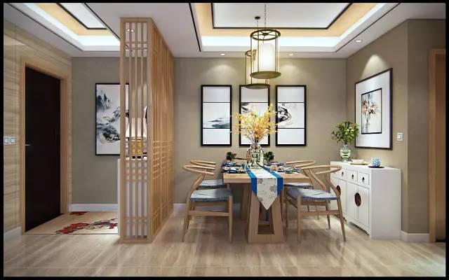 97㎡现代中式,大门直对餐厅,装个隔断还有了鞋柜!