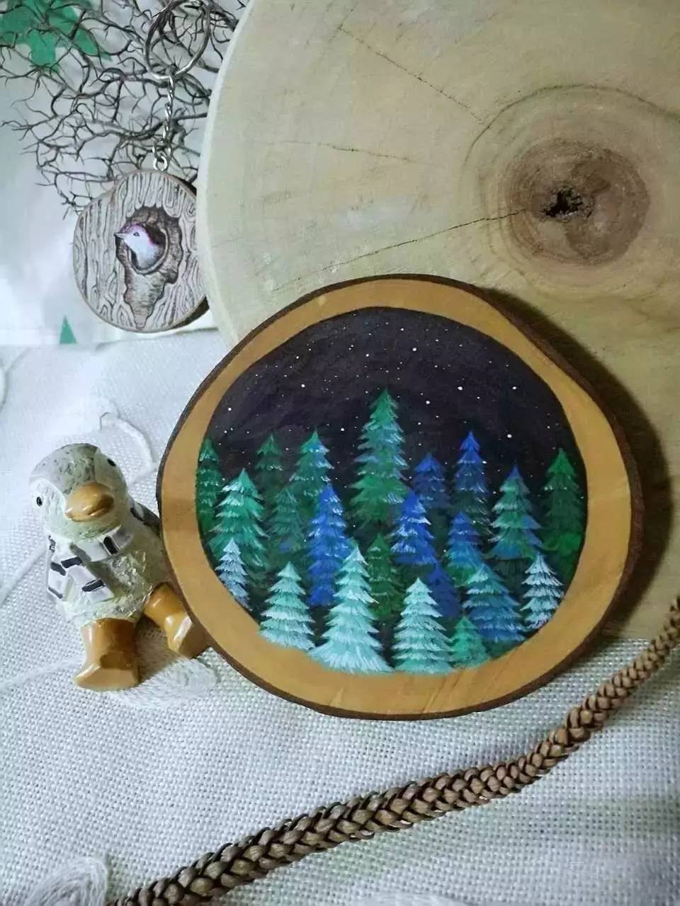 园木片手绘