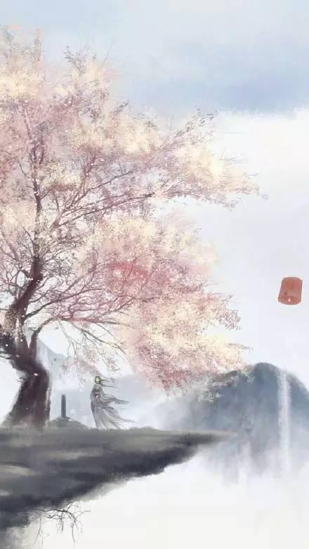 手绘古风背景落花