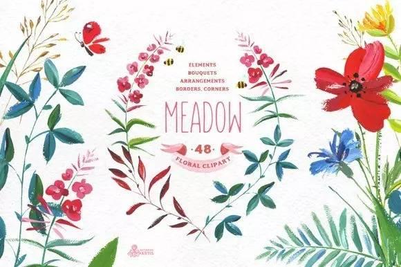 460 个水彩手绘花卉花朵植物卡片邀请函图案素材合集