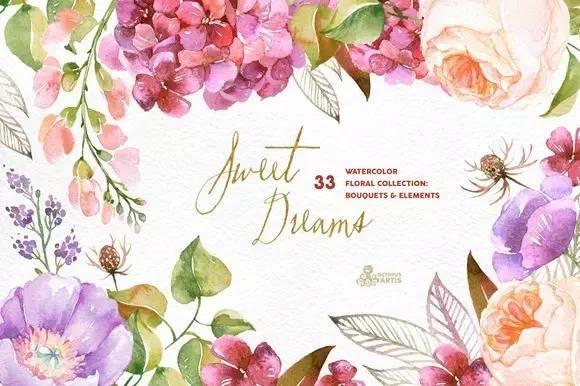 460 个水彩手绘花卉花朵植物卡片邀请函图案素材合集高像素png透明