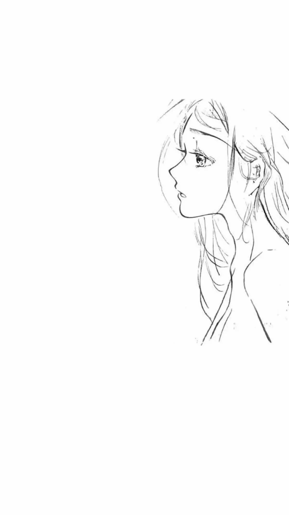 黑白简约手绘女生锁屏