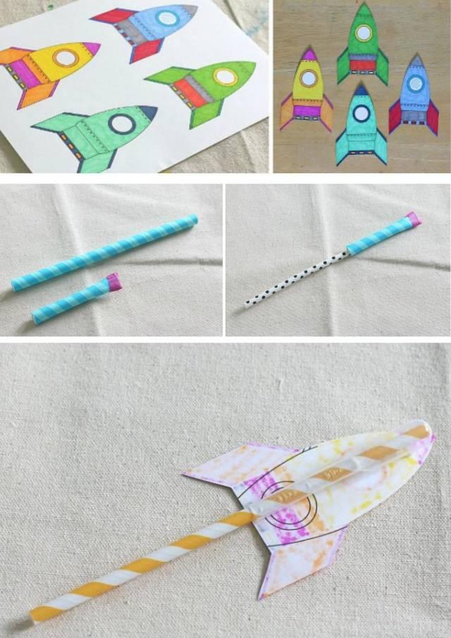 在硬纸板上印上(或画上)火箭模型,并用剪刀把它们剪下来;  剪一段较粗的吸管,用胶水或胶带将其一头封住;  将封住一头的习惯站在火箭模型背面;  把较细的吸管插入模型后面,准备吹气,让火箭起飞。 2.手工投石器 准备材料: 冰棒棍(手工木棒) 橡皮筋 毛绒小球 胶水 塑料瓶盖 制作过程: