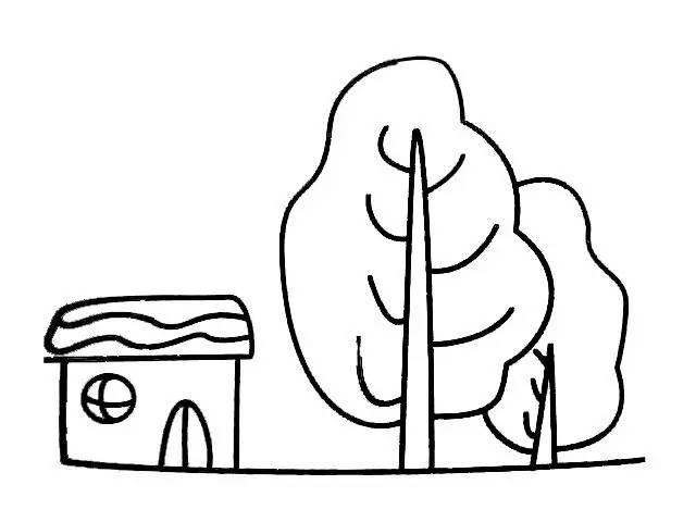 幼儿园简笔画房子和树的画法