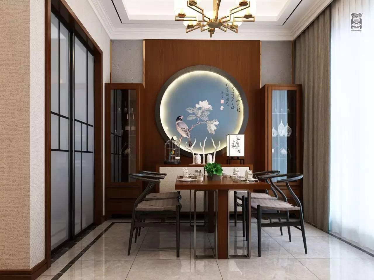 时尚 正文  沙发背景墙选用印花硅藻泥作为主料,辅以中式硬包.图片