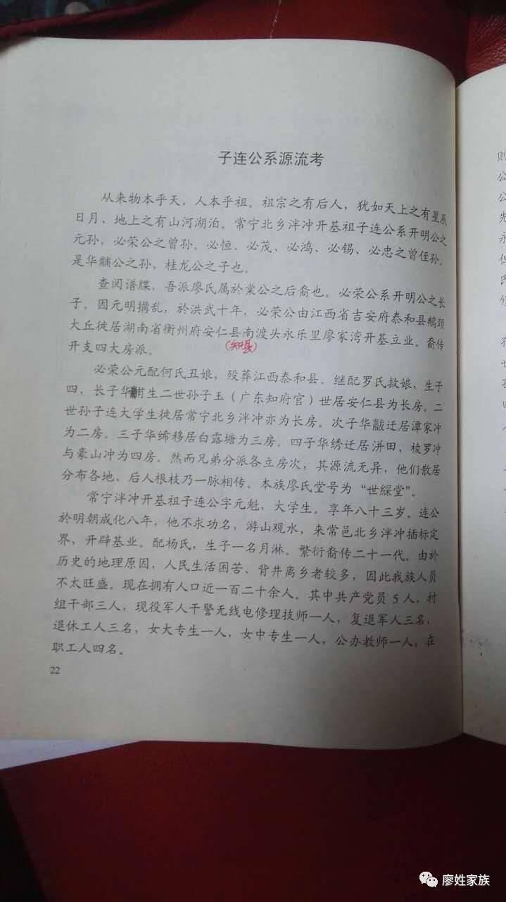 湖南常宁屯家廖氏族谱图片
