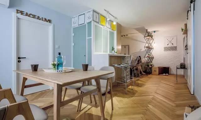 84㎡现代北欧风格二居,吧台 榻榻米阳台设计实用又美观