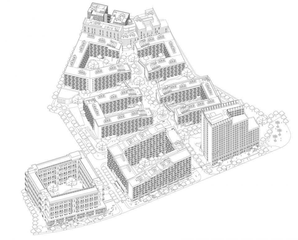 围合式建筑手绘图