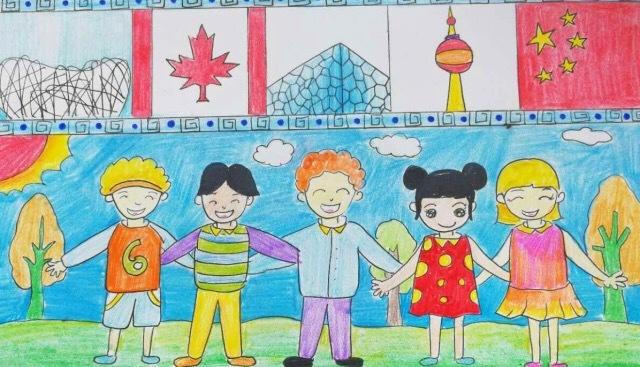文化 正文  中加少年儿童手绘明信片大赛的 小作者们用画笔来迎接中加