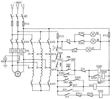 它的工作原理是:在启动时,由5排主触点的接触器先动作,接通自耦变压器