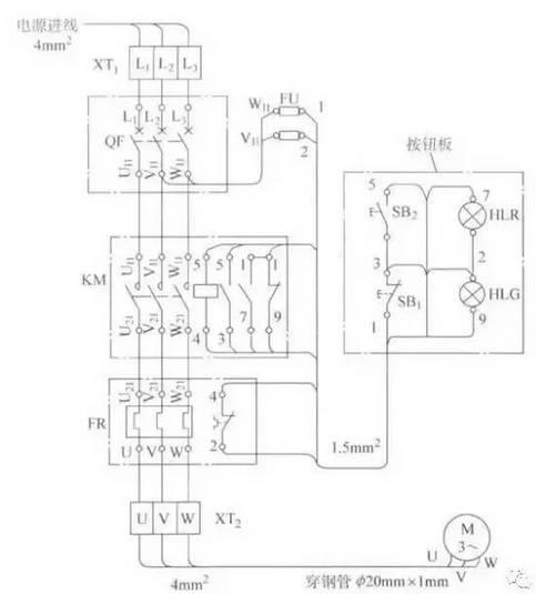 图4带指示灯的电动机连续运行电路安装接线图-超详细 三相交流异步电图片