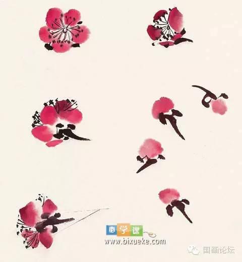 国画| 学习大师的梅花画法图片