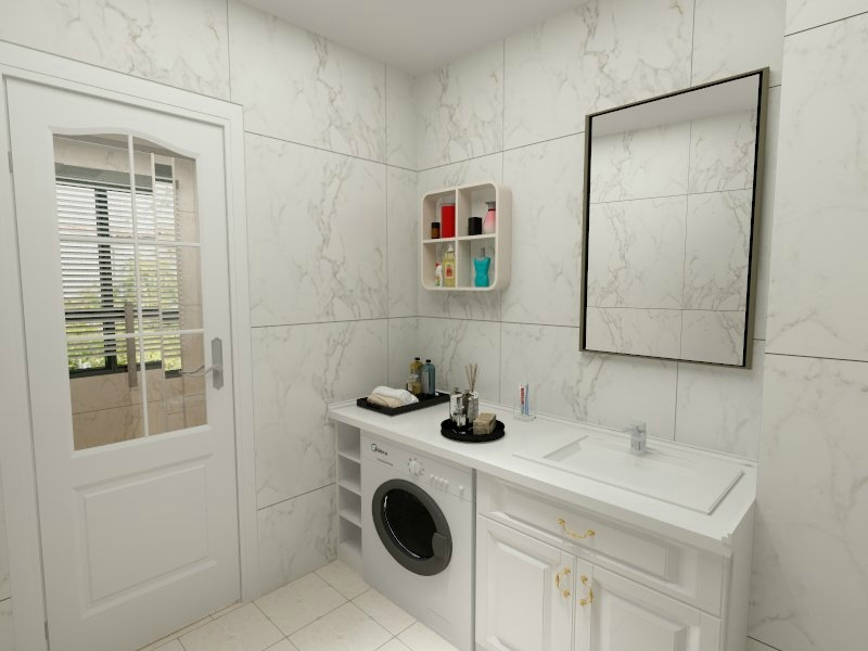 洗衣机摆放在卫生间是比较常见的做法,从风水角度来说,也不会影响卫生间运势。 但是,洗澡产生的水汽可能会影响洗衣机的使用寿命,建议卫生间做干湿分离,给洗衣机加个防水罩,保持良好的通风。 缺 点  卫生间水汽大,而且含有各种酸性物质容易让洗衣机的结构生锈;  卫生间潮湿容易滋生细菌,会老化洗衣机的一些电路从而引发短路和减短寿命;  洗衣机太大,会占用太大的位置; 优 点  配备进水口和出水口,上下水方便;  符合生活习惯,排污方便;      洗衣机放在阳台