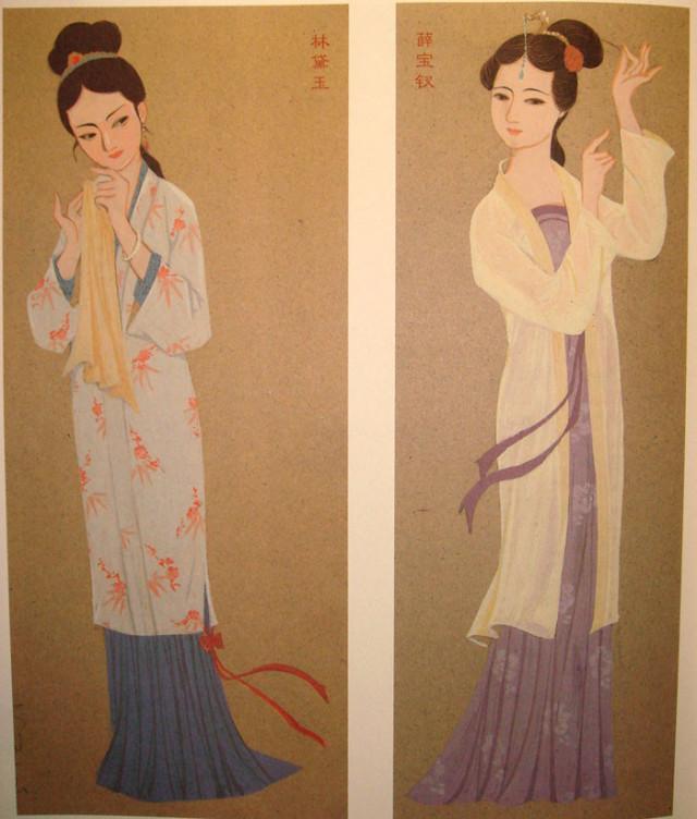 史延芹的黛玉和宝钗的服装设计稿图片