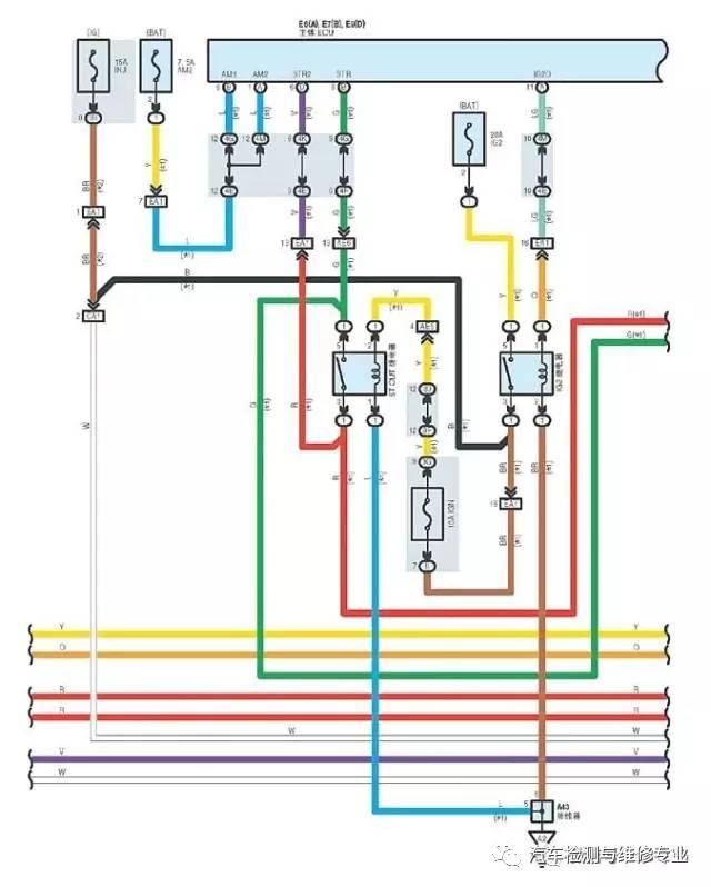 查看电路图点火系统部分,将试灯连接c11-1针脚与车身接地间,当故障