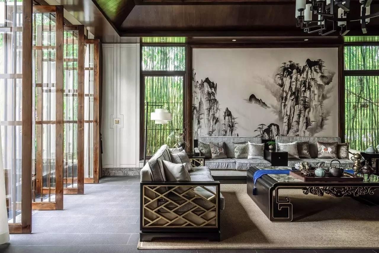 新中式装修效果图,新中式庭院——竹语茶室,梦回诗意之境