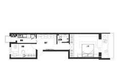 长条形的户型,卧室分列两旁,客厅只能靠厨房的部分采光,但是在设计上图片