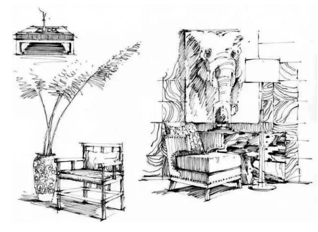 环艺手绘家具单体线稿