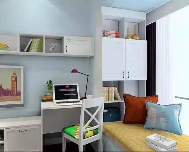 一面墙的书柜还能延伸出飘窗,吧台,次卧,书桌.图片