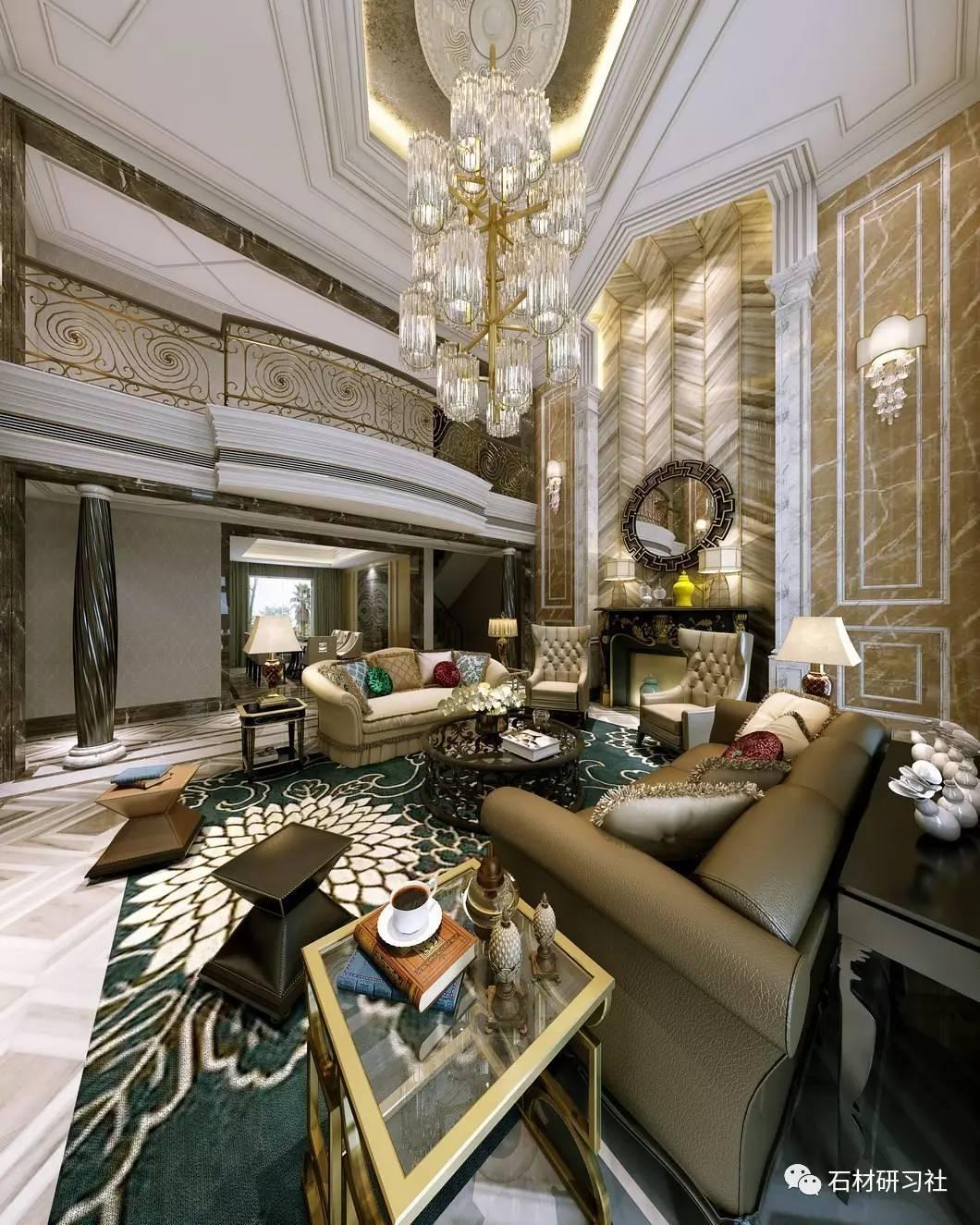 欧式客厅大理石装饰设计效果图
