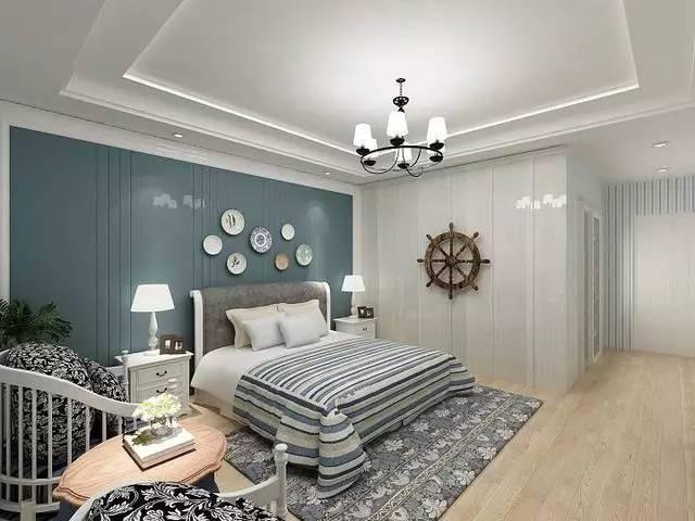 床头右侧的墙壁运用木板装饰,整体的墙面用蓝白条纹的墙纸铺贴,让整个