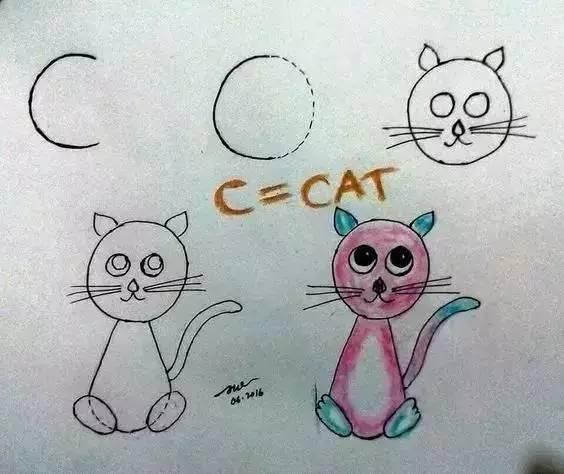 字母变身简笔画 不怕孩子学不会画画和英语 上