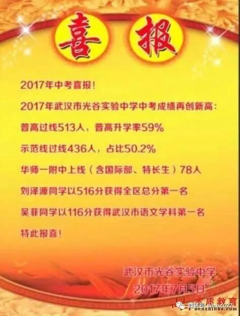 武汉各初中交出中考成绩单 2017武汉市各区初中中考数据汇总图片 34860 474x624