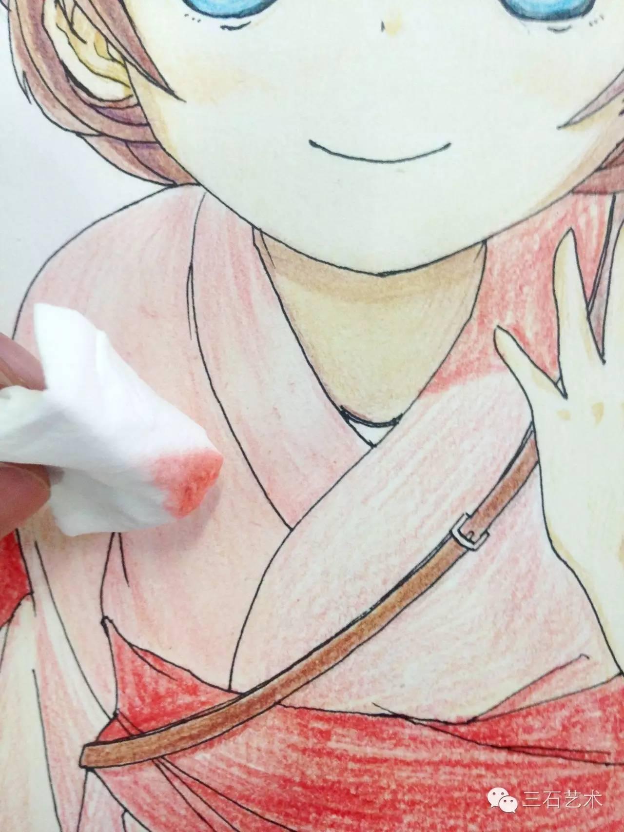 原创彩铅动漫教程,穿和服的女孩!