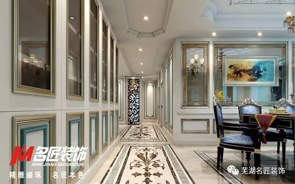 墙面造型线条,酒柜等,客厅地面及主卧地面也运用到了法式常有拼花地板