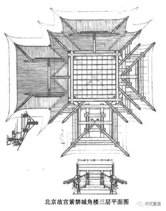 中式房屋三视图 手绘