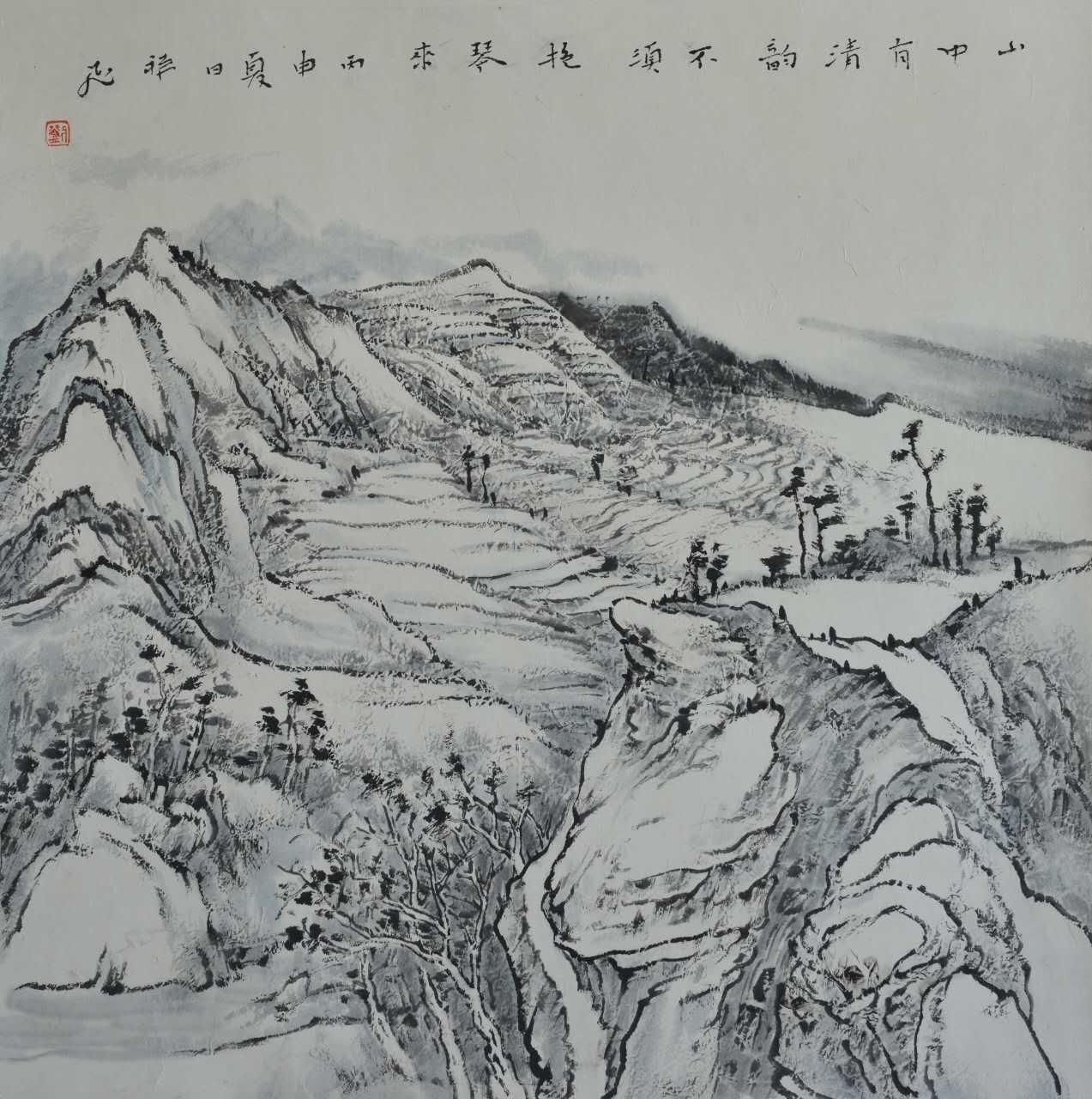 """文化 正文  2015年,作品《绿圃空阶云冉冉》,参加""""中国梦 黄山魂〃"""