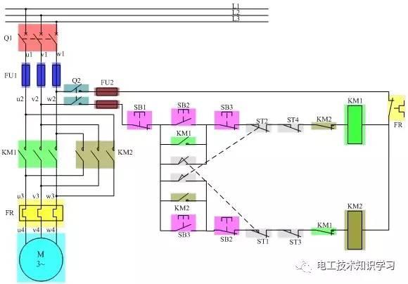 电动机正反转自动循环控制线路原理图解-电工技术知识