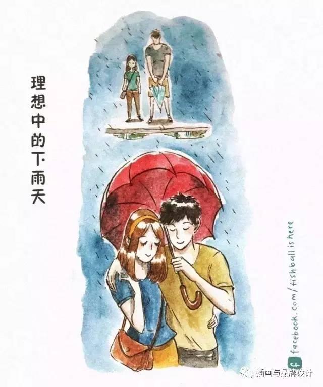 情侣打伞手绘