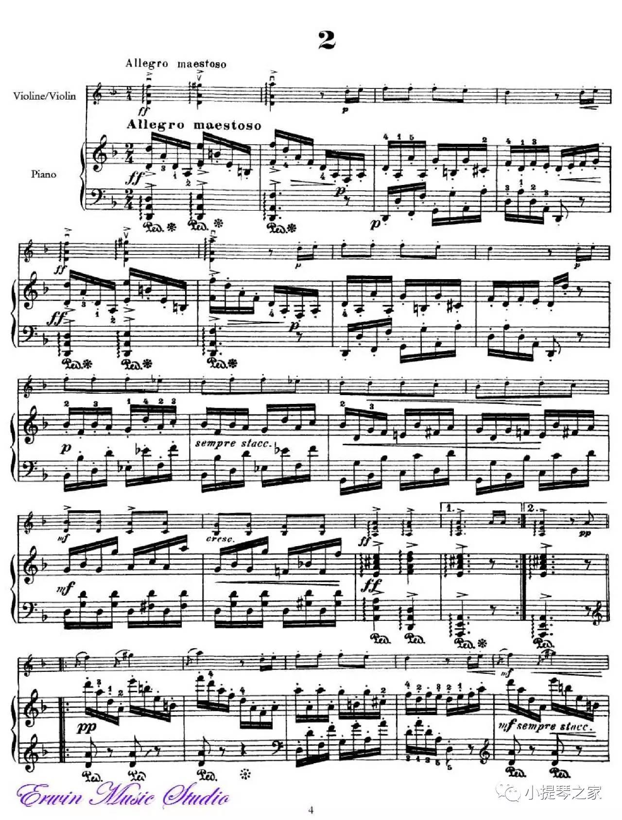 《浪漫曲》附小提琴谱-德沃夏克