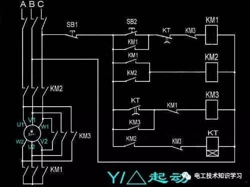 电动机星三角降压启动电路图-星三角启动接线图-电工