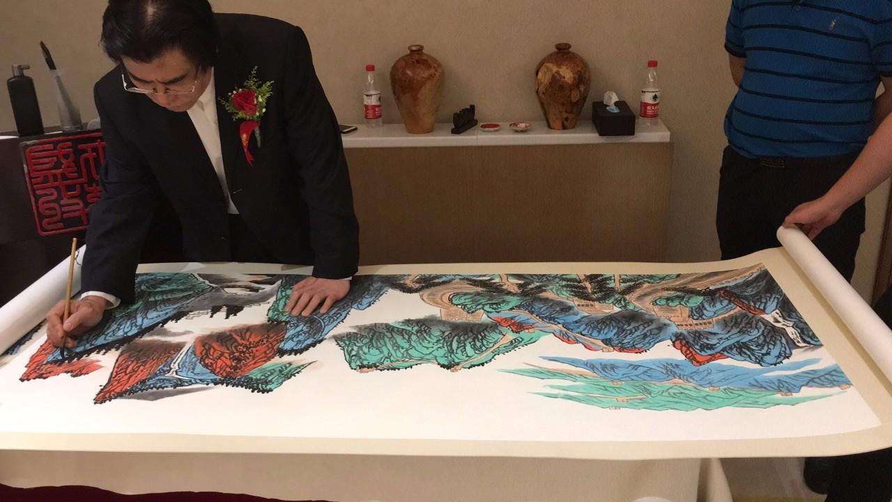 作画-纪念香港回归祖国20周年主题长卷 江天万里尽朝晖 大师见面会在