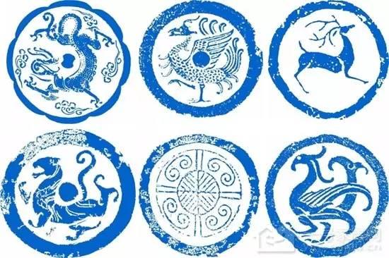 纹样拓片 瓦当部分多雕饰有各种图案,常见的有文字瓦当,动物纹瓦当