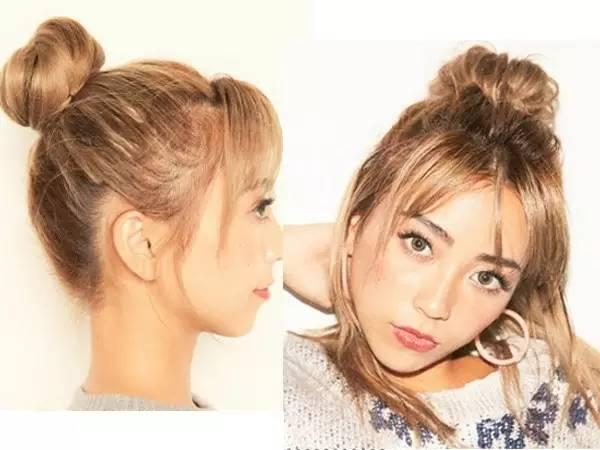中发的刘海搭配半扎丸子头造型超有个性的