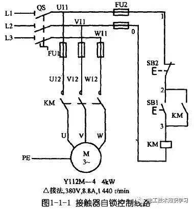 三相异步电动机自锁电路图 电工技术知识干货学习分享图片