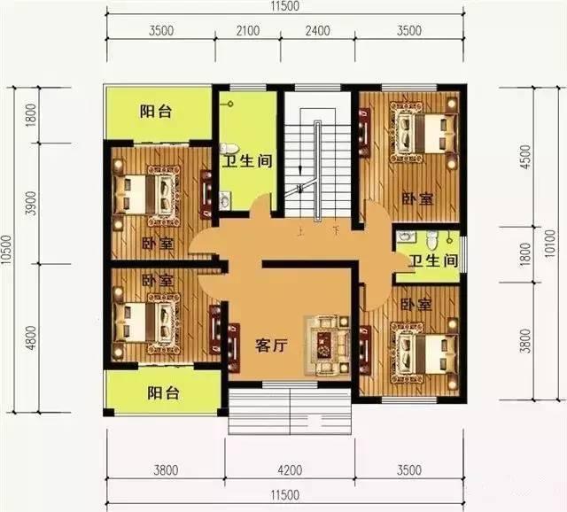 一层平面图:设有1门厅,1客厅,2卧室,2卫生间,1厨房1餐厅,1储藏室
