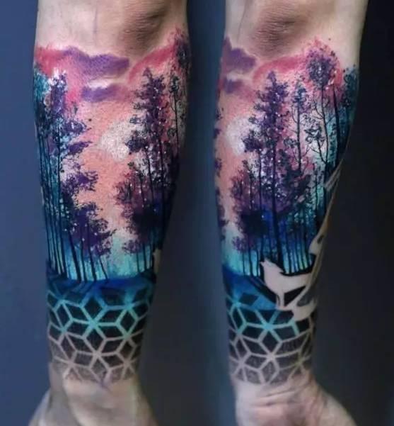 独自坚持-树纹身图片