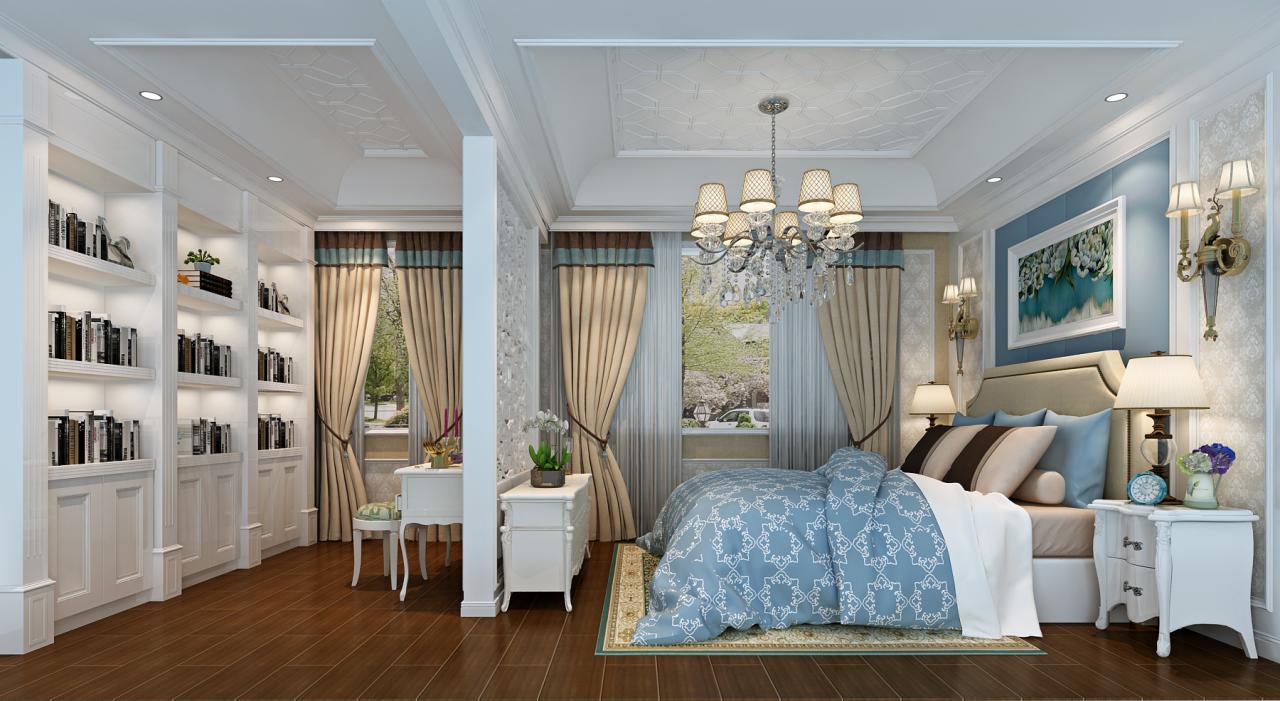 衣帽间蓝色壁纸搭配白色的衣柜,欧式浪漫主义配色清新自然
