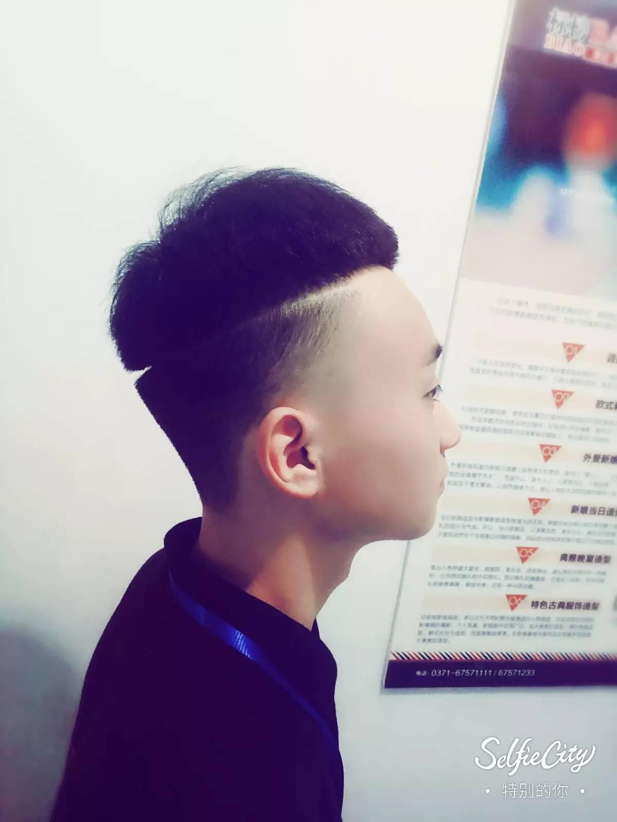 【标榜今日发型】男士裁剪 创意阴阳头图片