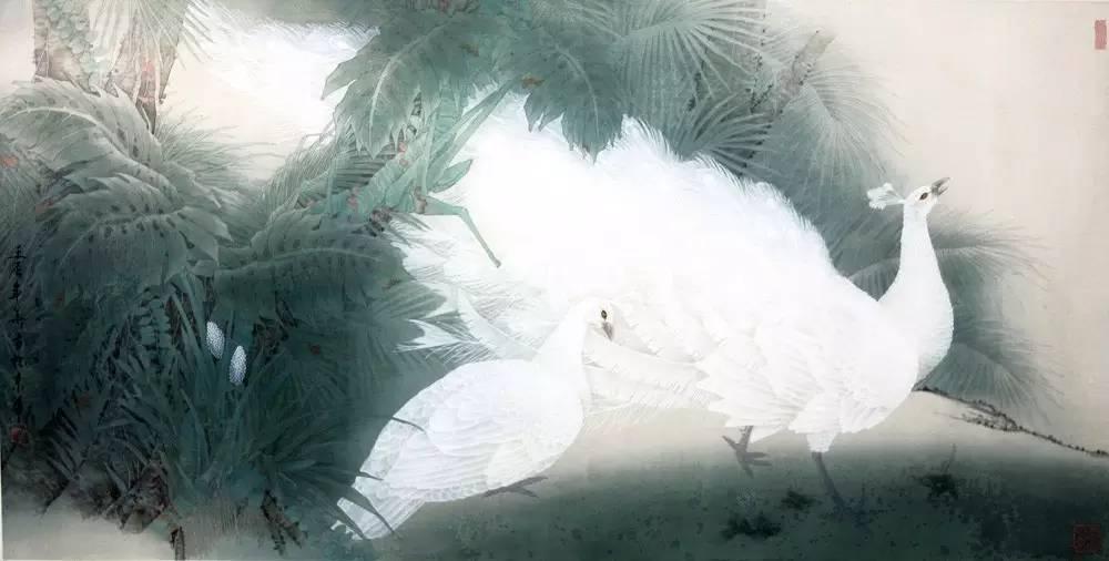 梦幻森林手绘孔雀图