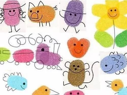指印加上几笔简单的涂鸦,竟然会变出如此生动形象的小动物.